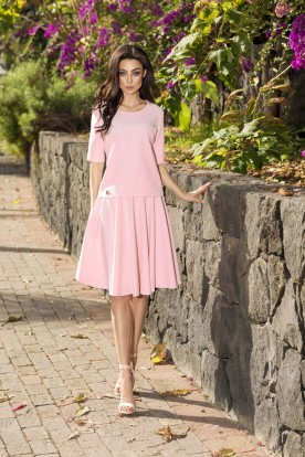 Circle dress L237 powder pink