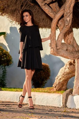 Flared dress with a frill L238 black
