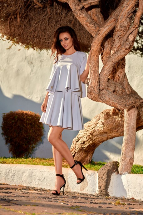 Flared dress with a frill L238 light grey