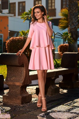 Flared dress with a frill L238 powder pink