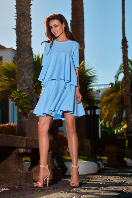 Flared dress with a frill L238 light blue