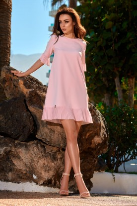 Dress with a frill L243 powder pink