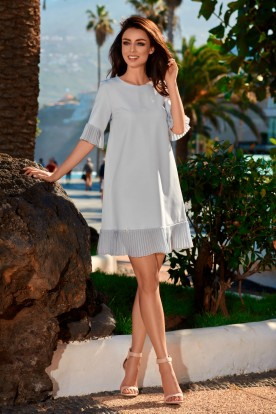 Dress with a frill L243 light grey
