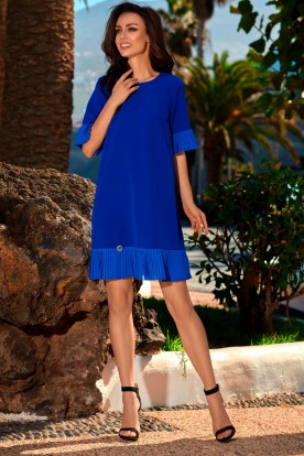 Dress with a frill L243 blue