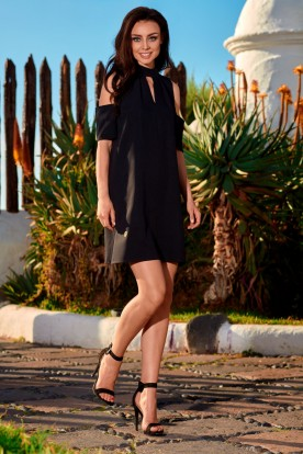 Dress with bare shoulders L245 black