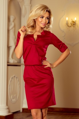 161-9 AGATA - dress with a collar - dark red
