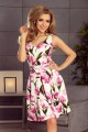 160-4 Dress with neckline and pockets - tulips