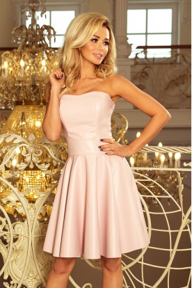 83-3 Corset dress with ecoleather - pastel pink