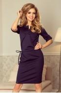 161-7 AGATA - dress with a collar - dark blue