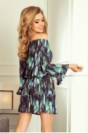 198-1 JULIE Dress with flounces on the sleeves - green feathers