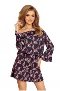 198-3 JULIE Dress with flounces on the sleeves - small flowers + black
