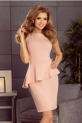 178-3 Asymmetrical dress with frill - pastel pink