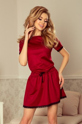 199-2 LISA Dress with lace inserts - burgundy