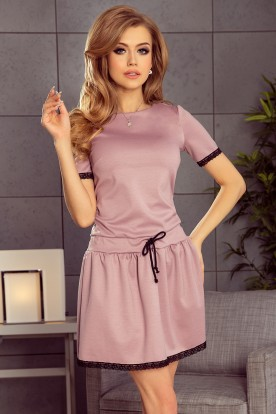199-1 LISA Dress with lace inserts - dirty pink