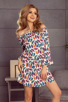 198-2 JULIE Dress with flounces on the sleeves - colorful feathers
