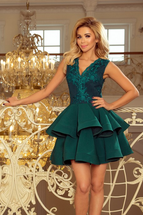 200-6 CHARLOTTE - Exclusive dress with lace neckline - GREEN