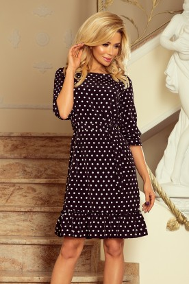 193-1 MAYA Dress with flounces and belt - black + white polka dots