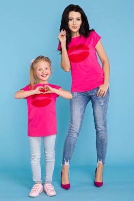 Rožiniai marškinėliai mergaitei