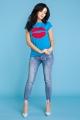 Mėlyni marškinėliai moteriai