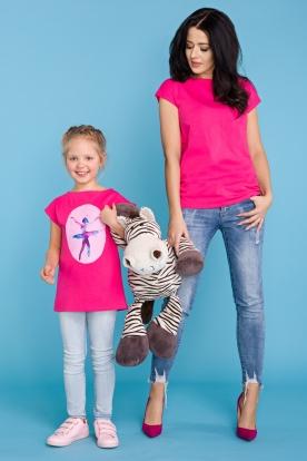 Rožiniai marškinėliai moteriai