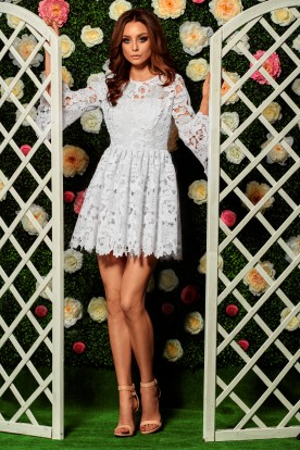 Romantic lace dress L262 ecru