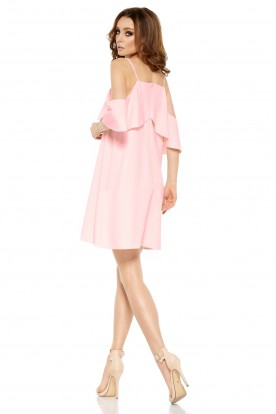 Fashionable dress with bare shoulders L256 powder pink