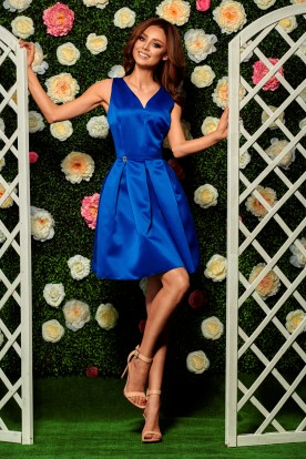 Flared dress L257 blue
