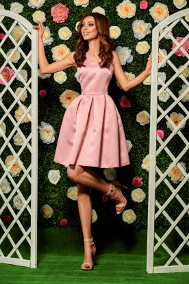Flared dress L257 powder pink