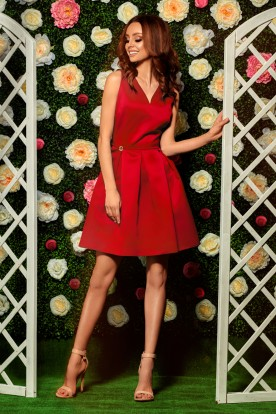 Flared dress L257 red
