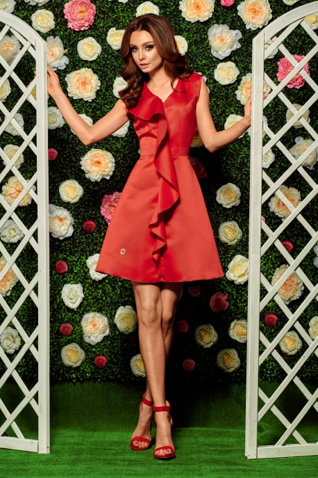 Stunning dress with a frill L259 red