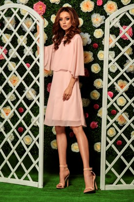 Chiffon dress with a cape L261 powder pink