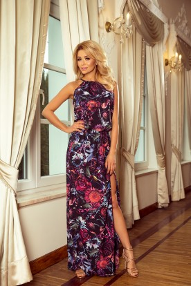 191-1 Long dress tied at the neck - purple flowers