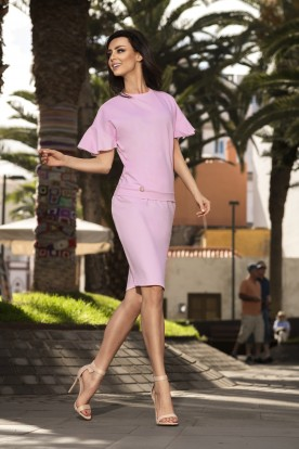 Casual set with a pencil skirt L233 powder pink