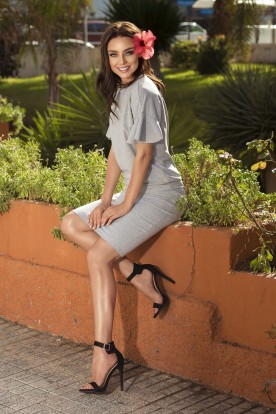 Casual set with a pencil skirt L233 light grey