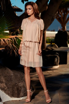 Summer chiffon dress with short sleeves L241 beige