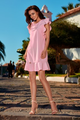 Formal dress with frills L248 powder pink