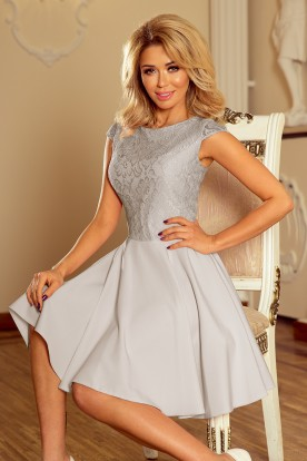 157-6 Dress MARTA with lace - light grey