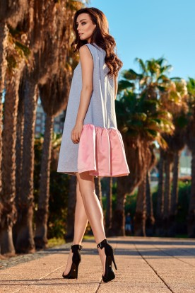 Trapeze dress with a satin ruffle L247 light grey-powder pink