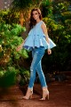 Fashionable blouse with a triple frill L249 light blue