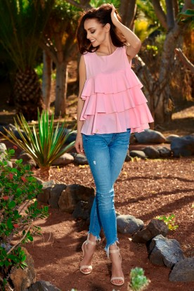 Fashionable blouse with a triple frill L249 powder pink