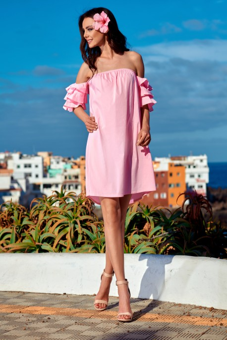 A perfect dress without shoulders L252 powder pink