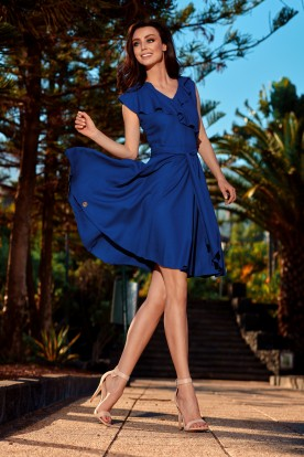 Summer envelope dress L253 navy