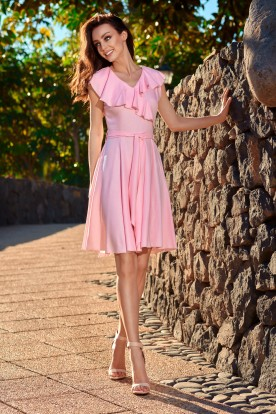 Summer envelope dress L253 powder pink
