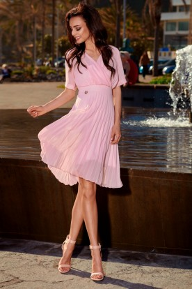 Airy envelope dress L255 powder pink