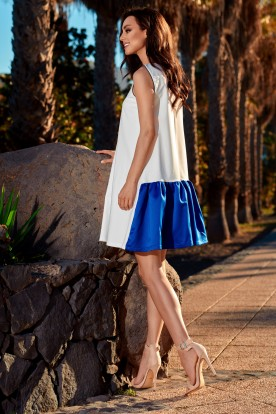 Trapeze dress with a satin ruffle L247 ecru-blue