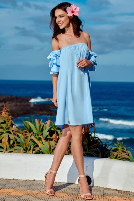 A perfect dress without shoulders L252 light blue