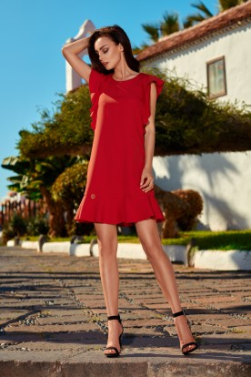 Formal dress with frills L248 red