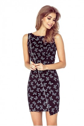 MM 004-6 Asymmetrical dress - Black + butterflies