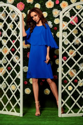 Chiffon dress with a cape L261 blue