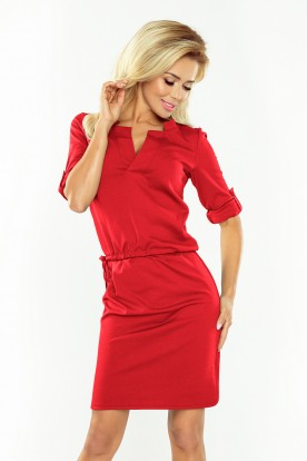 161-11 AGATA - dress with a collar - RED